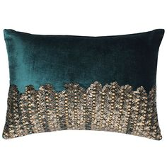 Velvet pillows with gold beadwork. Velvet Pillows, Couch Pillows, Cushions, Couch Furniture, Cloud 9, Teal Colors, Throw Pillow Covers, Decorative Throw Pillows, Modern Contemporary