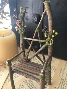 Wiccan Decor, Wiccan Crafts, Rama Seca, Deco Nature, Fairy Furniture, Witch House, Nature Crafts, Book Of Shadows, Faux Flowers