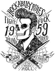 424 King Kerosin < Rockabilly Rules 1959 > AUTOCOLLANT / STICKER: 1x autocollant/Sticker dimensions de l'étiquette environ 10cm contour…