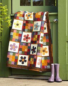 Millstone Quilts. love the autumn colors & flower applique.