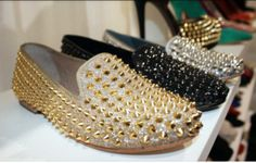 shoes loafers studs gold gold studs silver silver studs black glitter