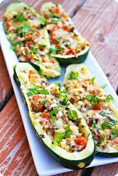 Spicy Italian Stuffed Zucchini Boats