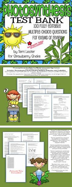 100 editable test questions on PHOTOSYNTHESIS