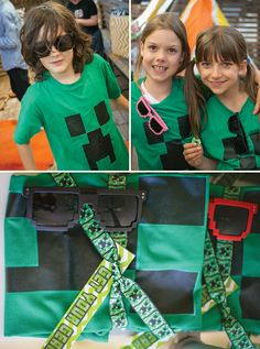 Minecraft Party goodie bags / favors at the COOP.   T shirts and super cool pixel shades!!