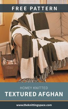 This Homey Knitted Textured Afghan is a certified display-worthy home accessory for all seasons. It's a gorgeously textured decor that will give your space an inviting look. In addition, it makes for a lovely handmade housewarming gift.   Discover over 5,500 free knitting patterns at theknittingspace.com #knitpatternsfree #DIY #howtoknitblankets All Free Knitting, Winter Knitting Patterns, Dishcloth Knitting Patterns, Summer Knitting Projects, Diy Living Room Decor, Knitted Blankets, Free Pattern, Seasons, Display