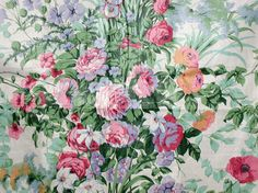 "RARE Vintage Cyrus Clark ""Mardi Gras"" Floral Chintz From 1987 - 3+ Yards"