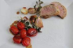 Schweinefilet und Tomaten in Balsamico. Und hier ist das Rezept http://wolkenfeeskuechenwerkstatt.blogspot.de/2012/10/gorgonzola-menue.html