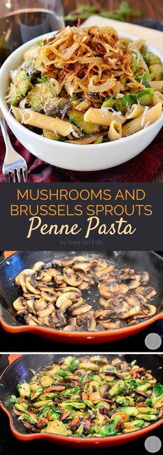 Mushroom and Brussels Sprouts Penne Pasta