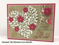 Stampin' Up! Bloomin' Love Bundle Valentine Card with How To Video, Bloomin Heart Thinlits, Kay Kalthoff, #stampingtoshare