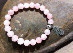 Rose quartz  bracelet,  sterling silver Hamsa, gemstones, healing bracelet, chakra bracelet, protection - pinned by pin4etsy.com
