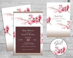 Cherry Blossom Baby Shower Invitation Japanese Baby por CheskaDeez