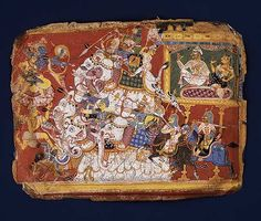 Krishna Battles the Armies of the Demon Naraka: Page from a Dispersed Bhagavata Purana (Ancient Stories of Lord Vishnu) [India, Delhi-Agra a...