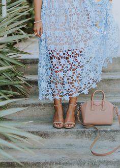 haute off the rack, blue lace dress, Givenchy Mini Antigona Bag, nude handbag, nude heels, Steve Madden Stecy Heels, Women's fashion, Summer Style, Miami Swim Week Outfit