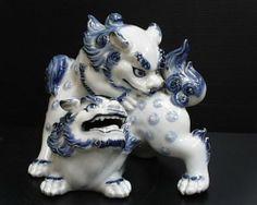 ★ Japanese Kutani Celadon Polychrome Moriage Shishi Dragon Lion Foo Dog Statue ★ | eBay