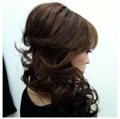 Curly half up, side-swept diy волосы, прически, стиль Love Hair, Great Hair, Big Hair, Indian Hairstyles, Pretty Hairstyles, Wedding Hairstyles Half Up Half Down, Half Updo, Head Band, Wedding Hair And Makeup