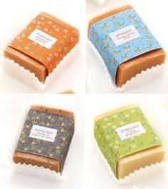 soap packaging- don't know what they're resting on/in, but it reminds me of cupcake wrappers, which is another interesting idea to ponder....