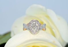 rose gold and pear shaped diamonds