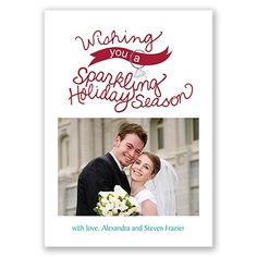 """Wishing you a sparkling holiday season!"" - photo holiday card for newlyweds or engaged couples.  ""Sparkling Wishes"""