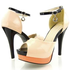 Ladies-Beige-Pink-Black-Ankle-Strap-Party-Platform-High-Heels-Sandals-UK-Size-6