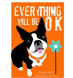 Boston Terrier art print featuring the text, Everything will be OK. Just looking at a sweet Boston Terrier face will make any day better. Terrier Breeds, Terrier Puppies, Pitbull Terrier, Terriers, Boston Terrior, Boston Terrier Art, English Terrier, Boston Art, Black And White Dog