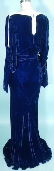 c. 1930's OPENHYM's DEBUVEL Transparent Velvet Blue Velvet Gown with White Bead Trim and Open Sleeves