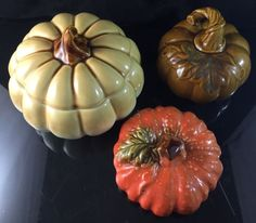 3 Ceramic Pumpkins Halloween Fall Thanksgiving Halloween Decor Candy Dish