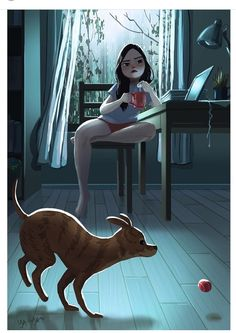 Little Dog Names, Character Art, Character Design, Living With Dogs, Dog Illustration, Website Illustration, Portrait Illustration, Girl And Dog, Cartoon Art