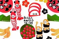 2016おせち柄・三猿柄年賀状 | dandyism-neco