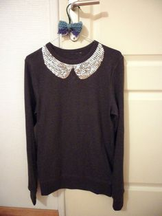A sweater I made! Peter pan collar with silver sequins