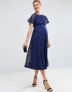 ASOS Maternity | ASOS Maternity Midi Lace Dress with Flutter Sleeve