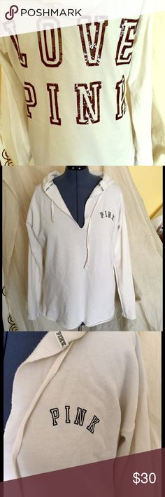 PINK Victoria's Secret fleece tunic size L PINK Victoria's Secret cream hooded fleece tunic. Worn maybe one time if at all. Sequin details on back PINK Victoria's Secret Tops Tunics