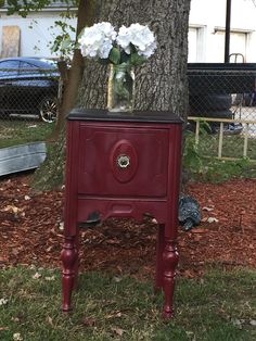 Antique accent table painted in Annie sloan Burgundy and the top is stained ebony ,