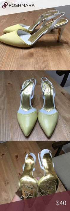 """Ted Baker Caareen' Slingback Pump (8.5) Delicate patent trim and a metal-tipped toe distinguish a croc-embossed pump that takes you from day to dark with ease. 3 1/2"""" heel. Leather upper and lining/synthetic sole. By Ted Baker London; imported. Size 8.5. See minor imperfections Ted Baker Shoes Heels"""
