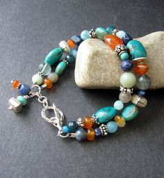 MultiStone Beaded Bracelet - Turquoise, Carnelian, Labradorite, Lapiz, Sterling Silver - Fulton This beaded bracelet is filled with Wire Jewelry, Boho Jewelry, Jewelry Crafts, Beaded Jewelry, Jewelery, Jewelry Bracelets, Jewelry Design, Pearl Jewelry, Bangles