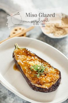 Eggplant is a delicious Japanese vegan side dish, made from eggplant coate. Eggplant is a delicious Japanese vegan side dish, made from eggplant coated in a tasty sweet miso glaze! Easy Japanese Recipes, Asian Recipes, Gourmet Recipes, Vegetarian Recipes, Cooking Recipes, Vegan Eggplant Recipes, Gourmet Foods, Meal Recipes, Cooking Ideas