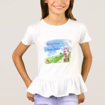 Bunny Kisses & Easter Wishes (Customizable) T-Shirt