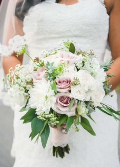 Vintage bouquet with blush and ivory hues of roses and dhalias