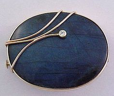 14k yellow gold and labradorite pin set with a small, full cut diamond by Helga Narsakka for Kaunis Koru, Finland, c. 1982 /850