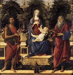 Botticelli's Virgin and Child Enthroned is brilliantly regal. The deep blue and red of the virgin is contrasted beautifully by the white of the child's wrapping.