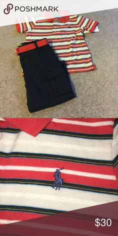 RL outfit Cute! Orange and navy size 18m cargo navy pants Ralph Lauren Matching Sets