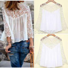 2014 verão moda feminina casual camisas de renda blusas de chiffon tops camisa t 11.99