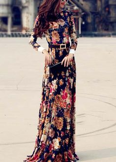 Vintage Flower Print Round Neck Long Sleeve Dress