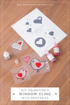 diy window cling valentines printables-Sticky Valentines – How To Make DIY Window Clings-They are easy, fun and super addictive! These diy window clings is an idea we got from our Kiwi Crate craft kit. Cute Valentine Ideas, Kinder Valentines, Valentines Day Activities, Valentines For Kids, Valentine Day Crafts, Craft Activities, Holiday Crafts, Holiday Fun, Valentine's Day Crafts For Kids
