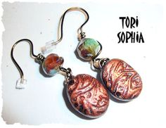 EARRINGS... Czech Glass Beads and Polymer Clay. $20.00, via Etsy.
