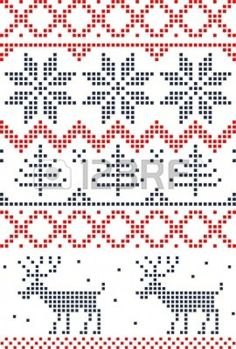 Scandinavian Christmas cross stitch Could be a knitting pattern Xmas Cross Stitch, Cross Stitch Borders, Cross Stitch Charts, Cross Stitch Designs, Cross Stitching, Cross Stitch Embroidery, Embroidery Patterns, Cross Stitch Patterns, Knitting Charts