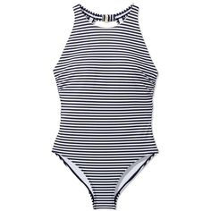 Tory Burch Classic Stripe High-Neck One-Piece featuring polyvore fashion clothing swimwear one-piece swimsuits tory navy classic stripe high neck halter swimsuit navy blue one piece swimsuit racerback swimsuit one piece bathing suits sporty swimsuits