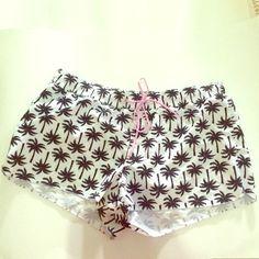 NWOT‼️Beach Swim Shorts Old Navy  NWOT L Beach Shorts, Black and white palm tree design, pink waist tie. Old Navy Shorts