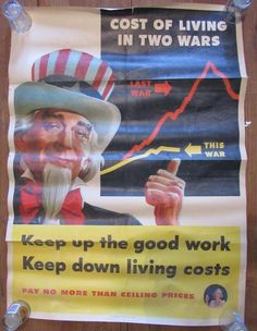 """WWII Original L Helguera 1944 Poster Uncle Sam """"Cost of Living in Two Wars"""" 