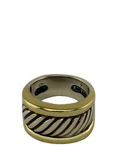 David Yurman Sterling Silver 14k Gold Classic Thoroughbred Ring