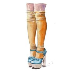 Yellow socks by Tracy Hetzel Ballet Shoes, Dance Shoes, Yellow Socks, Capri Pants, Photo And Video, Illustrations, Drawing, Art, Fashion
